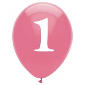 Ballons latex Rose Chiffre 1 (x6)