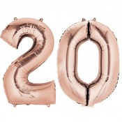 Ballons Mylar Aluminium 20 ans Rose Gold