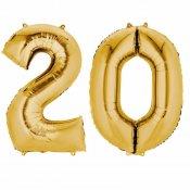 Ballons Mylar Aluminium Or Anniversaire Chiffre 20 (x2)