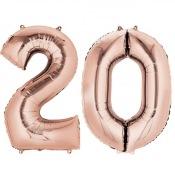 Ballons Mylar Aluminium Rose Gold 20 ans