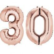 Ballons Mylar Aluminium Rose Gold Chiffre 30 ans