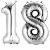 Ballons mylar argent anniversaire chiffre 18 ans