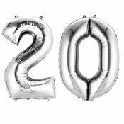 Ballons mylar argent anniversaire chiffre 20 ans