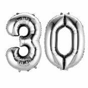 Ballons mylar argent anniversaire chiffre 30 ans
