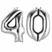 Ballons mylar argent anniversaire chiffre 40 ans