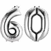 Ballons mylar argent anniversaire chiffre 60 ans
