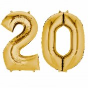 Ballons mylar or anniversaire chiffre 20 ans (x2)