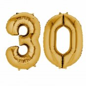 Ballons mylar or anniversaire Chiffre 30 ans (x2)