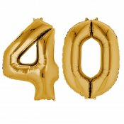 Ballons mylar or anniversaire chiffre 40 ans (x2)