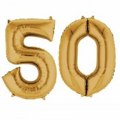 Ballons mylar or anniversaire chiffre 50 ans (x2)