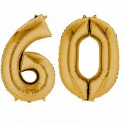 Ballons mylar or anniversaire chiffre 60 ans (x2)