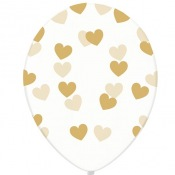 Ballons Transparent Coeur Or (x5)