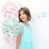Ballons Transparent Coeur Rose Pastel (x5)