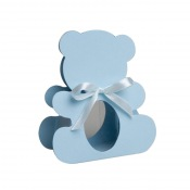 Ballotin Ourson bleu nacré + trapèze transparent