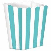 Boîtes à Popcorn à Rayure Bleu Vert (x5)