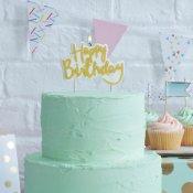 Bougie anniversaire Or Happy Birthday