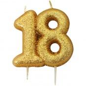 Bougie anniversaire or pailleté 18 ans