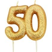 Bougie anniversaire or pailleté 50 ans