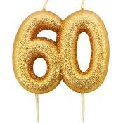 Bougie anniversaire or pailleté 60 ans