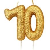 Bougie anniversaire or pailleté 70 ans