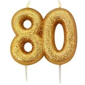 Bougie anniversaire or pailleté 80 ans