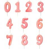 Bougie anniversaire Rose Pailleté Chiffre 0 à 9