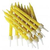 Bougies anniversaire jaune pailletées (x12)