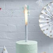Bougies Fontaine de glace lumineuse Pois Argent (x3)