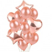 Bouquet 12 Ballons Rose Gold + Coeur + Etoile Mylar