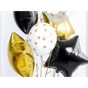 Bouquet 7 Ballons Etoile Noir, Or & Blanc