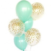 Bouquet Ballons Baudruche Biodégradable Mint &  Or