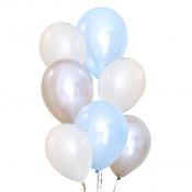 Bouquet Ballons Latex Bleu, Blanc et Argent (x6)