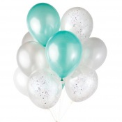 Bouquet Ballons Latex Mint, Argent et Confettis Argent (x6)