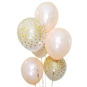 Bouquet Ballons latex Pêche et Confettis Or (x6)