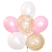 Bouquet Ballons Latex Rose, Blanc et Confettis Or (x6)
