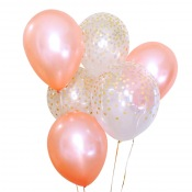 Bouquet Ballons latex Rose Gold et Confettis Or (x6)