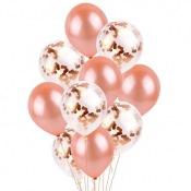 Bouquet Ballons Uni + Confettis Rose Gold (x8)
