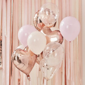 Bouquet de 12 ballons Rose Gold, Pêche & Rose