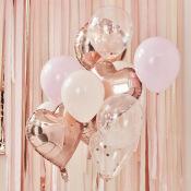 Bouquet de 12 ballons Rose Gold, Pêche & Rose