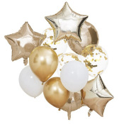 Bouquet de 13 Ballons Or Chromé & Blanc