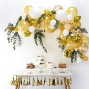 Bouquet de 60 ballons Or & Blanc