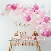 Bouquet de 60 ballons Rose & Blanc