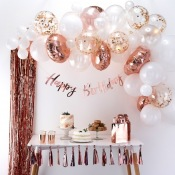 Bouquet de 60 ballons Rose Gold & Blanc