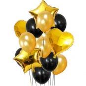 Bouquet de Ballons Noir & Or + Coeur + Etoile Mylar (x12)