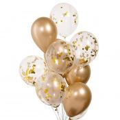 Bouquet de ballons Or Chromé & Confettis Or (x10)