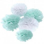 Bouquet de Pompons Fleur Mint & Blanc (x5)