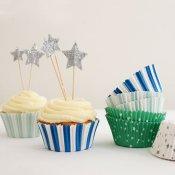 Caissettes à cupcake Pics Etoiles bleu vert (x48)