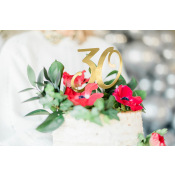 Cake Topper Anniversaire 30 ans Or