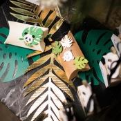 Centre de table Feuillage Tropical Vert et Doré (x6)