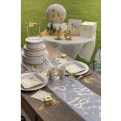 Chemin de table Age 30 Blanc & Or